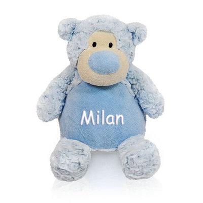 Knuffel beer met naam (blauw)