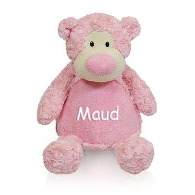 Knuffel beer met naam (roze)