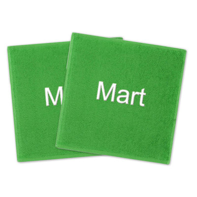 Spuugdoekje met naam groen (set van 2)