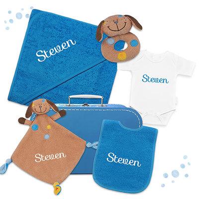 Kraampakket koffer met naam (turquoise)