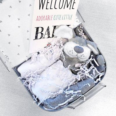 Kraampakket koffer met naam 20cm (wit)