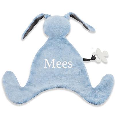 Speendoekje konijn met naam (blauw)