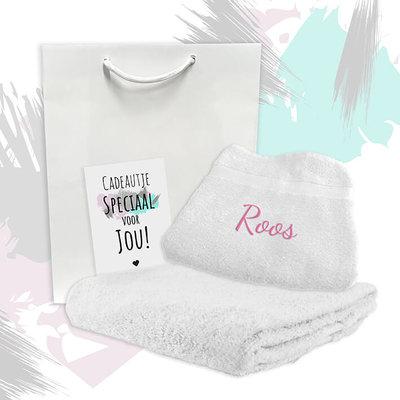 Cadeaupakket met naam (badlaken/handdoek)