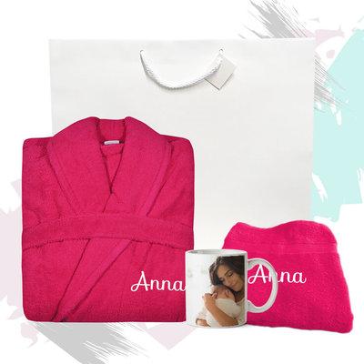 Cadeaupakket met naam badjas (roze)