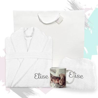 Cadeaupakket met naam badjas (wit)