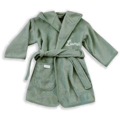 Kinderbadjas met naam 1-2 jaar (olijfgroen)