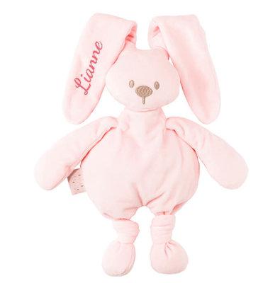 Knuffel konijn met naam (roze)