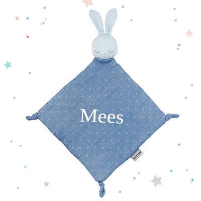 Tutpopje pure konijn met naam (blauw)
