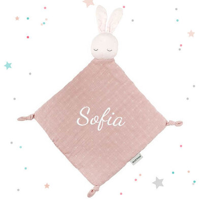Tutpopje pure konijn met naam (roze)