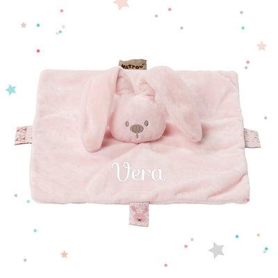 Labeldoekje met naam konijn (roze)