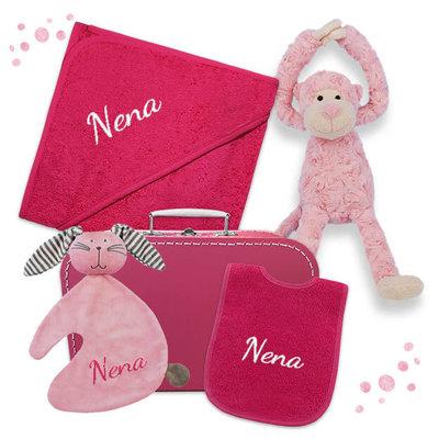 Kraampakket koffer met naam (fuchsia)