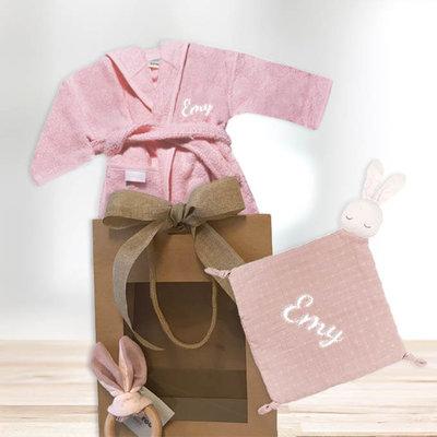 Kraamcadeau pakket met naam pure konijn (roze)
