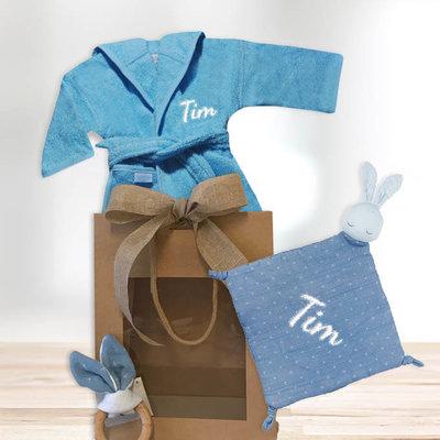 Kraamcadeau pakket met naam pure konijn (blauw)