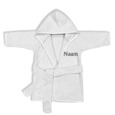 Kinderbadjas met naam 1-2 jaar (wit)