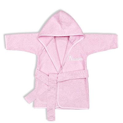 Baby badjas met naam 0-1 jaar (roze)