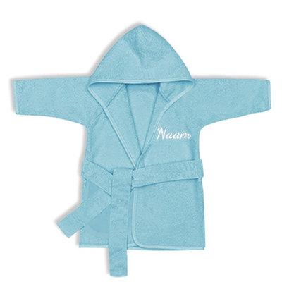 Baby badjas met naam 0-1 jaar (blauw)