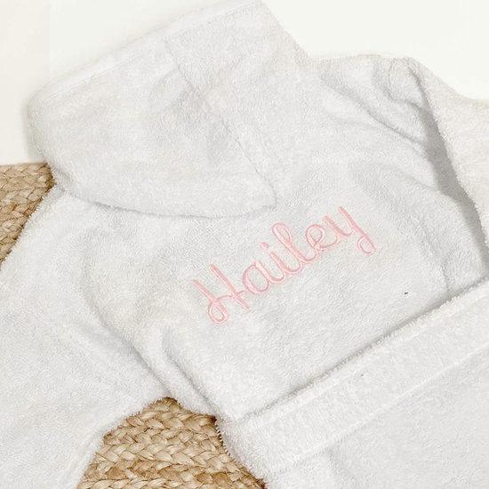 Baby badjas met naam (wit)