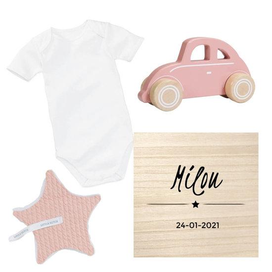 Kraamcadeau set met naam - Speelgoed auto