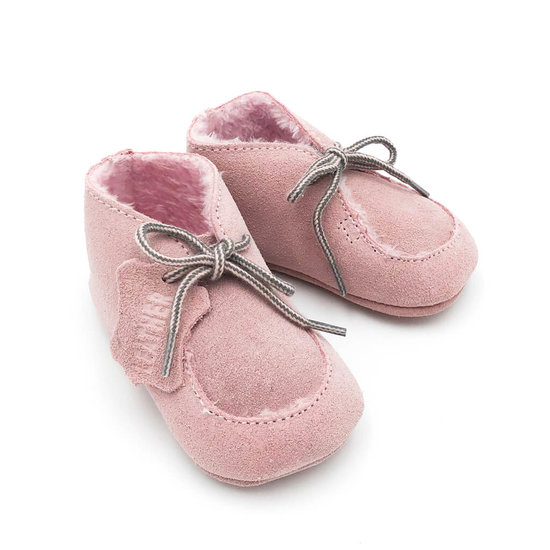 Babyschoentjes leer gevoerd - Pink