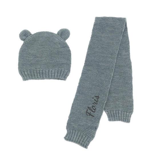 Babymuts met sjaal - Grey