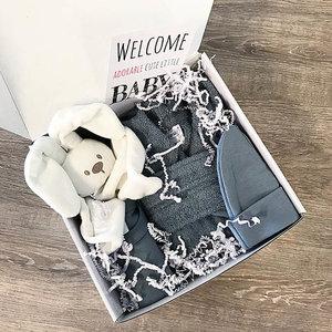 Kraamcadeau met naam geschenkset (grey/blue)