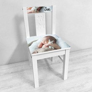 Geboortestoeltje met foto (wit)