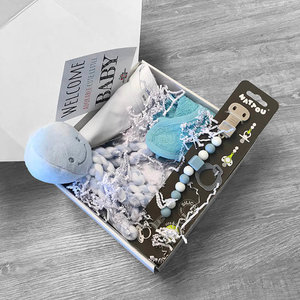 Kraamcadeau pakket met naam fopspeen (blauw)