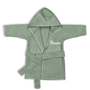 Kinderbadjas met naam 1-2 jaar (stone green)