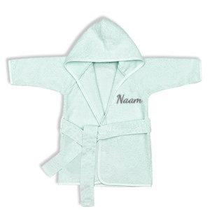 Kinderbadjas met naam 1-2 jaar (mint)