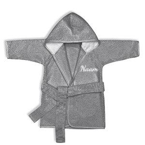 Baby badjas met naam 0-1 jaar (antraciet)
