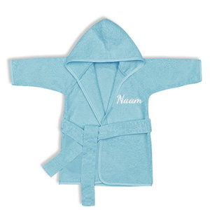 Kinderbadjas met naam 1-2 jaar (blauw)